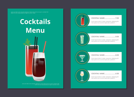 Cocktails Menu Poster with Bloody Mary and Whiskey