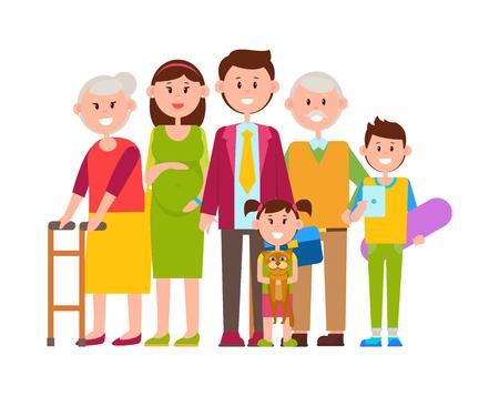 Family Together Big Poster Vector Illustration