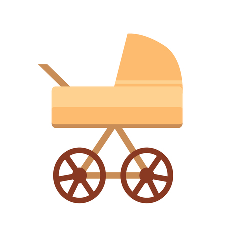 Baby Stroller with Wheels Vector Illustration