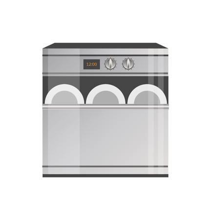 Shiny Metallic Modern Dishwasher with Timer Panel