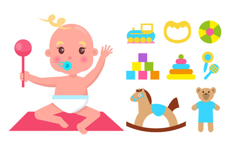 Cute Infant with Nipple and Pink Rattle Banner