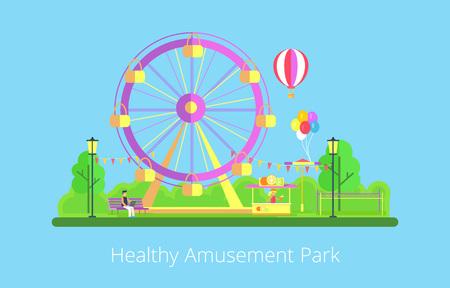Healthy Amusement Park Poster Vector Illustration