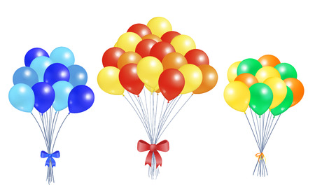 Collection Bunches of Helium Colorful Air Balloons
