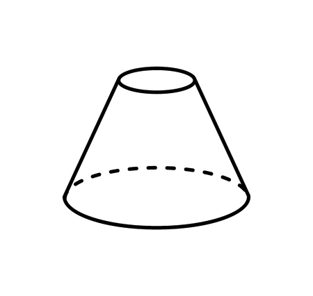 Blunted Cone Isolated Geometric Shape Projection Illustration