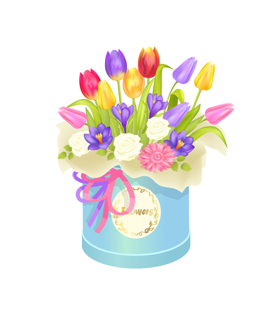 Bouquet and Box with Flowers Vector Illustration