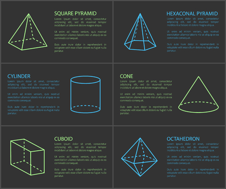 Square Pyramid and Cylinder Vector Illustration