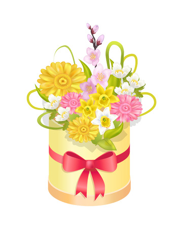 Cute Bouqet with Different Flowers Colorful Banner