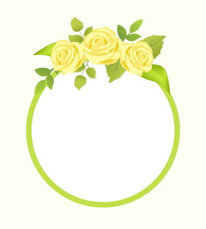 Rose Yellow Flowers with Green Leaves, Photo Frame