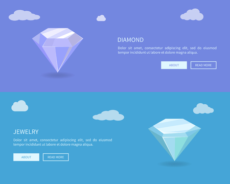 Diamond and Jewelry Web Posters Set, Color Banners