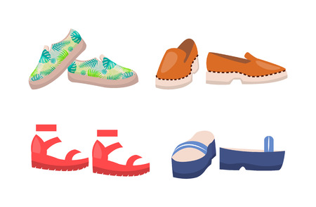 Shoes Collection Summer Mode Vector Illustration Ilustração