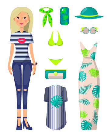 Young Blonde Girl with Stylish Summer Clothes Set Standard-Bild - 103897780