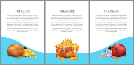Treasure Posters Set Bags with Briliants and Gold Illustration