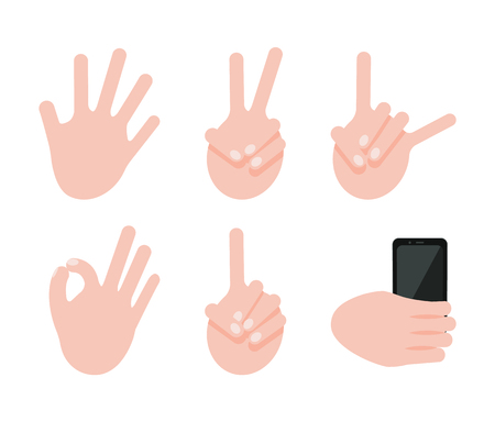 Various Gesture Collection, Vector Illustration Çizim