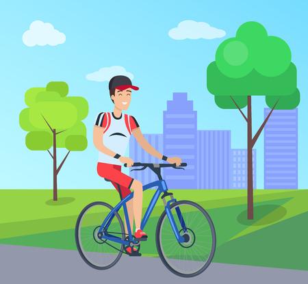 Smilling Man on Blue Bike Vector Illustration 写真素材 - 103897834