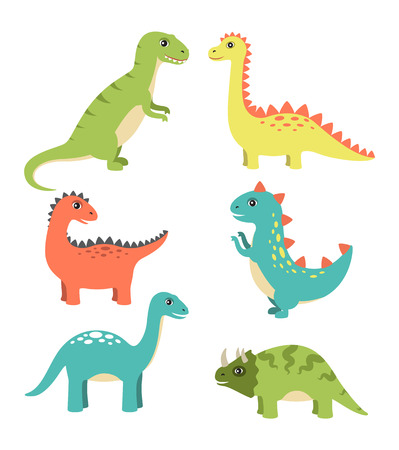 Dinosaurs Types Collection Vector Illustration