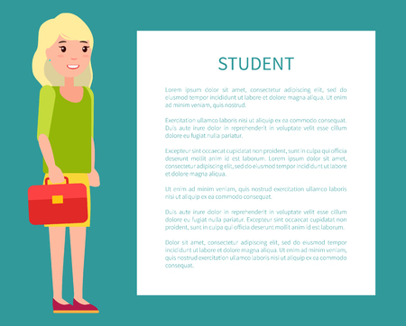 Student Girl Poster with Fill Form for Text Case