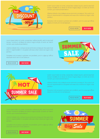 Summer Sale Website Collection Vector Illustration Stock Illustratie