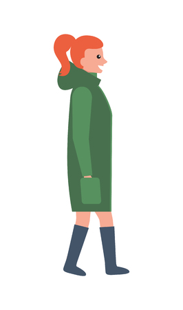 Woman in Long Green Winter Coat and Leather Boots