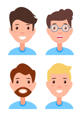Set of Men Faces, Character Constructor Hairstyles