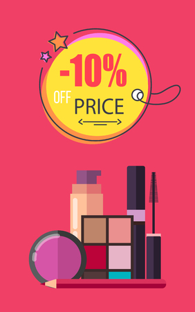 -10 Off Price Make Up Poster Vector Illustration