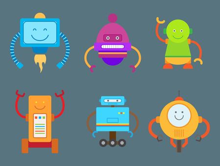 Robotic Creatures Collection Vector Illustration