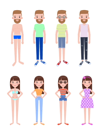 Male and Female Characters in Summer Outfits Set Stock Illustratie