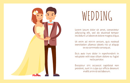 Wedding Man and Loved Woman Vector Illustration  イラスト・ベクター素材