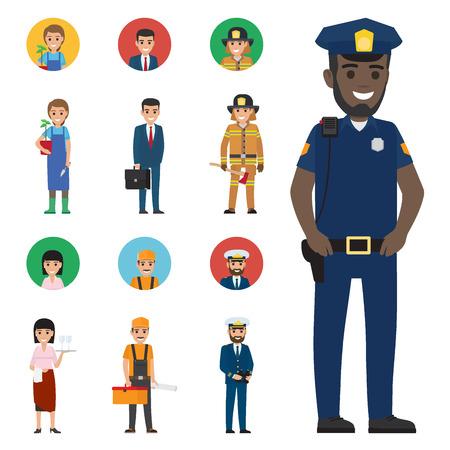 Professions People Cartoon Characters Icons Set Illusztráció