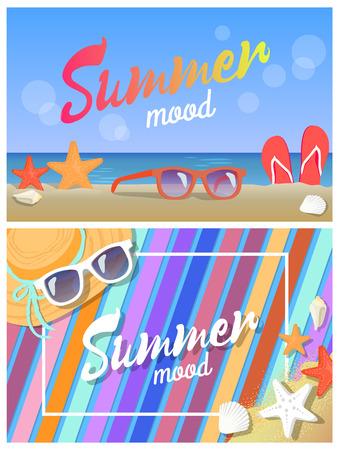 Summer Mood Posters, Colorful Vector Illustrations Ilustração
