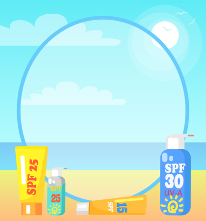 Poster Showing Seaside with Sunscreen Lotions
