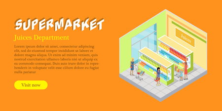 Supermarket Juices Department Isometric Web Banner Illustration