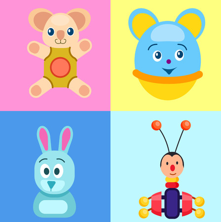 Children Toys on Colorful Backgrounds Poster.