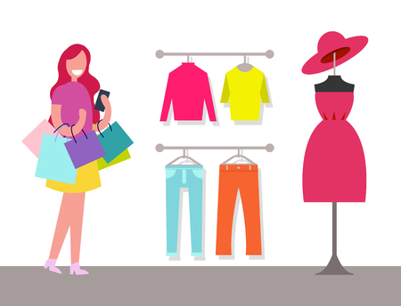 Hangers with Varied Clothes and Cheerful Customer
