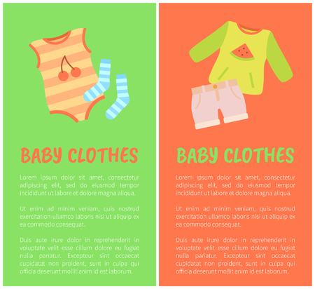 Baby Clothes Two Color Cards, Vector Illustration