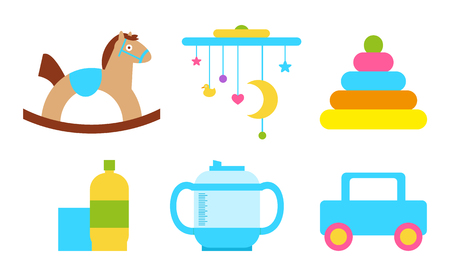 Toys Child Objects Collection Vector Illustration Banque d'images - 103989944