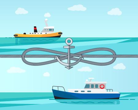 Sea Transport Color Banner Vector Illustration