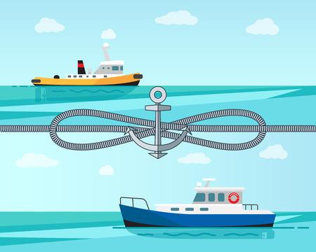 Sea Transport Color Banner Vector Illustration