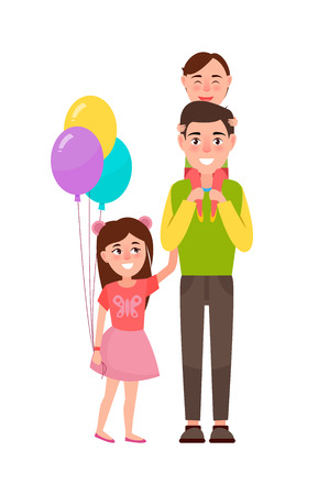 Father and Children Poster Vector Illustration Çizim