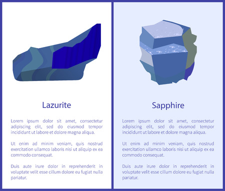 Lazurite and Sapphire Precious Gemstones Minerals