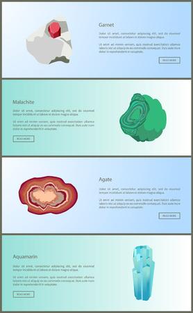 Granaat en Malachiet Agaat en Aquamarijn Mineralen Vector Illustratie
