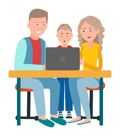 Parents and Son Sitting in Front of Open Laptop