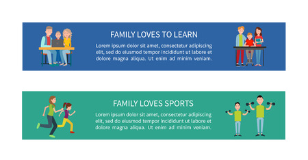 Family Loves to Learn and Sports Colorful Posters