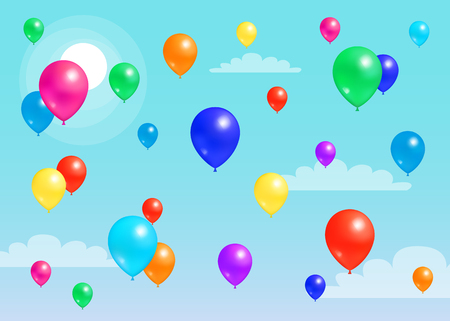 Colorful Balloons Flying Blue Sky, Rubber Balloon Illustration