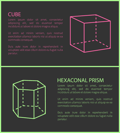 Cube and Heganonal Prism Set Vector Illustration