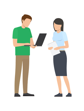 Man and Woman Discussing Details of Project Work Illustration