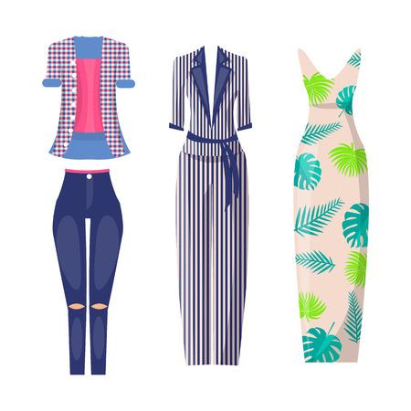 Elegant and Casual Fashionable Summer Looks Set Иллюстрация