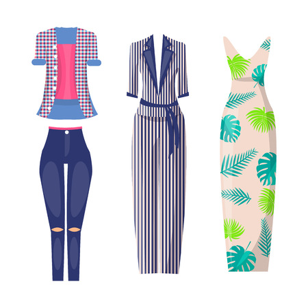 Elegant and Casual Fashionable Summer Looks Set Illustration