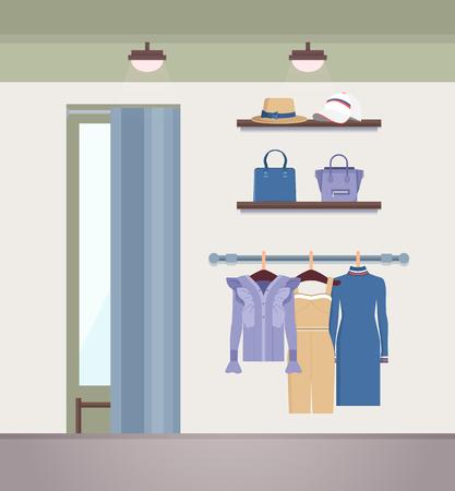 Vogue Clothes Shope, Color Vector Illustration Illustration