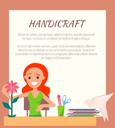 Handicraft Colorful Poster, Cute Artistic Woman Illustration