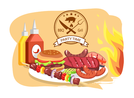 BBQ Grill, Party Time, Color Vector Illustration Illustration